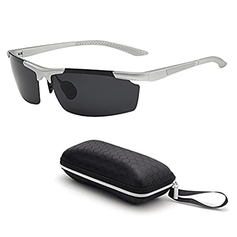 Unisex Polarized Sports Sunglasses Mirrored Cycling Glasses Lightweight 16.4g (0.6oz) for Men Women Cycling Running Fishing Skiing Driving Golfing Camping Sports and Outdoors Activities Glasses Eyewear Shades (Silver/Black)