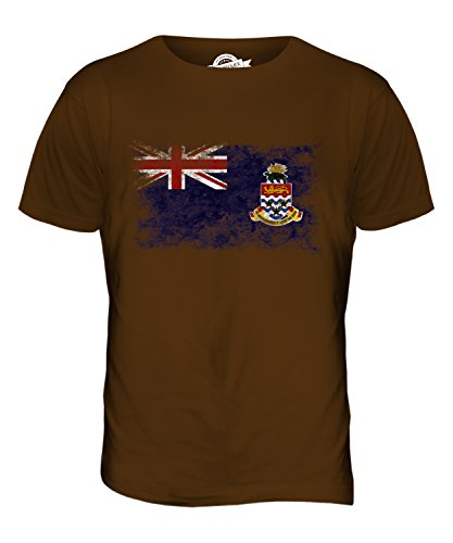 CandyMix Cayman Islands Weinlese Flagge Herren T Shirt, Größe Medium, Farbe Braun (Chocolate Cayman)