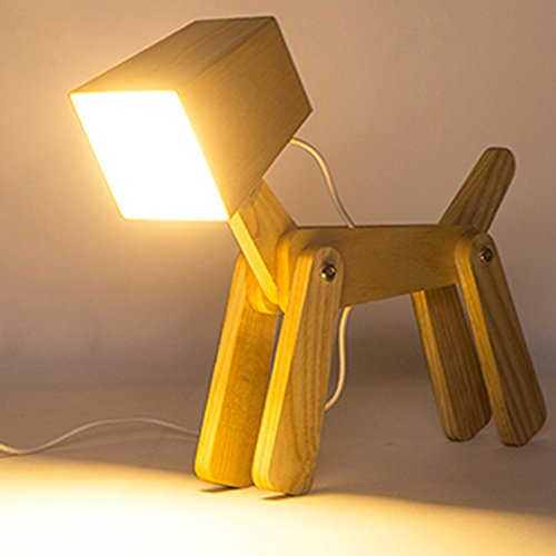 HROOME Cute Wooden Dog Design Adjustable Dimmable Bedside Table Lamp Touch Control 6W for Bedroom(M,Warm white 2800-3200k)