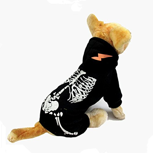 Ninasill ღ ღ Halloween Skelett Cool Cute Pet Cosplay Kostüm Casual Large Schwarz