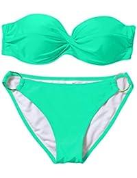 6b552f35a8 Women Push Up Bikini Set Bandeau Swimsuit with Pad Swimming Costume  Beachwear Bathing Suit Vintage Beach