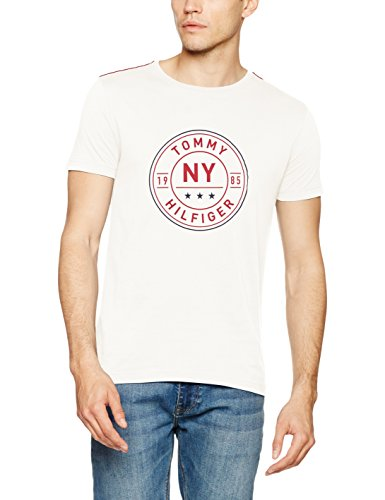 Tommy Hilfiger Stan C-Nk Tee S/S Rf, T-Shirt Uomo Bianco (Snow White)