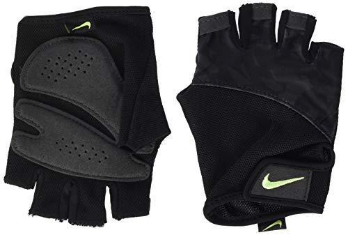 Nike - Guantes de Fitness para Mujer con impresión, Todo el año, Mujer, Color Black/Black/Volt Glow, tamaño Large