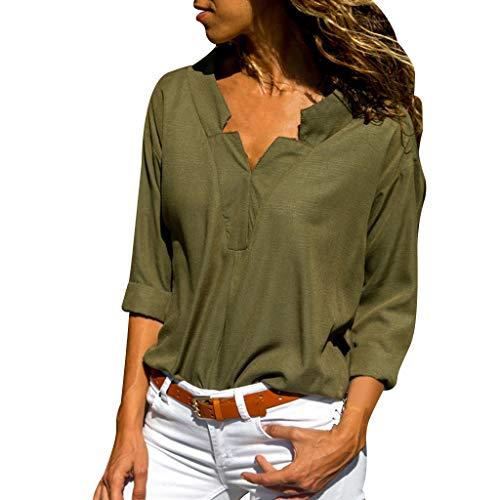 Innerternet Damen Bluse Elegant Chiffon V-Ausschnitt Langarm Casual Oberteil Lose Hemd Top Einfarbig Langarmshirt Vintage Tunika 2019 Sommer Tshirt Neue