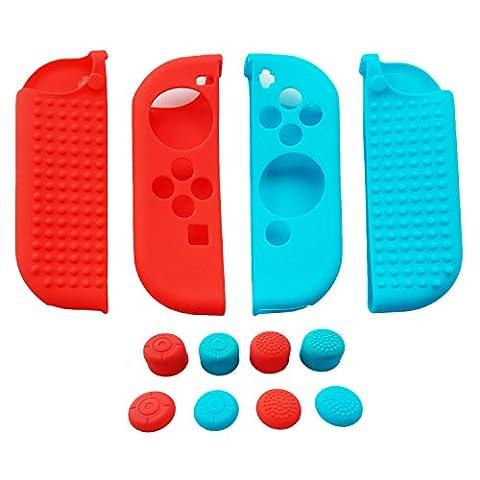 Hikfly 4pcs Silicone Gel Clouté Antidérapant Couverture peau Protecteur Coques Kits pour Nintendo Switch Joy-Con Ccontroller Avec 8pcs Gel de Silicone Poignées de pouce Capsules (2 x Rouge, 2 x