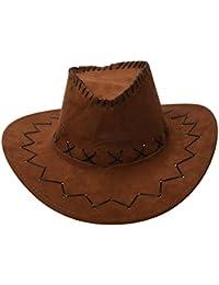 Cowboy Cowgirl hat - SODIAL(R) Retro Unisex Denim Wild West Cowboy Cowgirl Rodeo Fancy Dress Accessory Hats light Coffee
