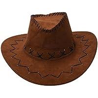 Sombrero - TOOGOO(R)Retro Unisex Sombreros accesorio del vestido de lujo de Rodeo de vaqueros de Oeste Salvaje de Mezclilla cafe claro