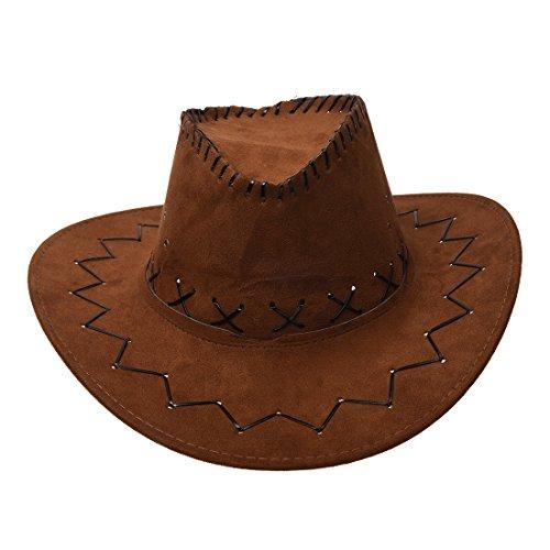 Frauen Cowboy Kostüm - Cowboy Huete - SODIAL (R) Archaistisch Unisex Denim Wilder Westen Cowboy Cowgirl Rodeo Faschingskostuem Zubehoer Huete graubraun
