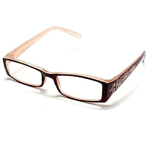 TENGGO Tawny Weibliche Diamond Flower Frame Alterssichtigen Lesen Brille Brillen-2.5
