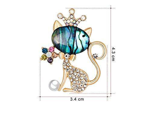 JxucTo Retro-Mode Katze Brosche Hochzeit Brautkleid dekorative Corsage für Frauen Geschenk (Gold +...