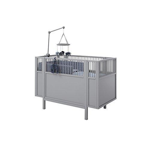 *LIFETIME Babybett Kinderbett Holz grau umbaubar zum Juniorbett Holz lackiert 60 x 120 cm #15054*