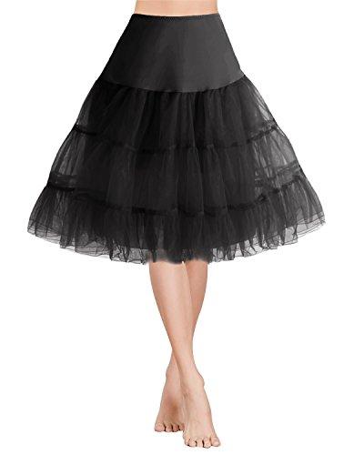 Gardenwed 1950 Petticoat Vintage Retro Reifrock Unterrock für Wedding Bridal Rockabilly Weihnachten Kleid Black S