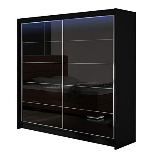 Modernes Kleiderschrank Falco I, Schlafzimmerschrank, Schiebetürenschrank, Hochglanz, Garderobe, Schlafzimmer, Schwebetürenschrank (Schwarz/Schwarz Lacobel, mit RGB LED Beleuchtung)