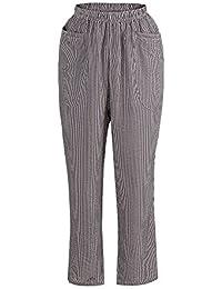 27634800066c YWLINK 2018 Damen Kleidung,Frauen Hohe Taille Vintage Gestreifte Lose  Baumwolle Leinen Lange GroßE Tasche Hosen…