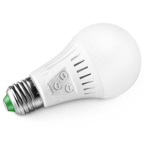 Elrigs E27 LED Lampe mit Bewegungsmelder und Dämmerungssensor, 7W ersetzt 60W, Reichweite, Zeit- und Dämmerungsschwelle einstellbar, Warmweiß (3000K)