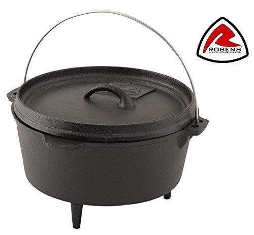 3,5Liter vorbehandelter Schmortopf Gusseisen Bushcraft Kochtopf für Camp Fire & Fire Pit Outdoor/BBQ Kochen von Robens