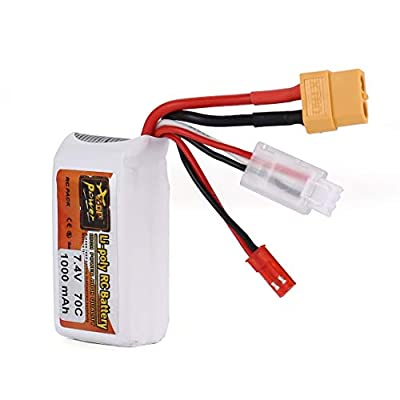 ZOP Power 7.4V 1100mAh 70C 2S 1P Lipo Battery JST XT60 Plug Rechargeable For RC Racing Drone Helicopter Car Boat Model(color:White)
