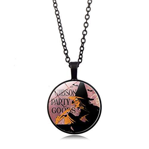 Blisfille Halloween Hexe Zeit Edelstein Halskette Anhänger Halskette -