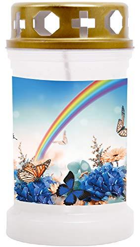 HS Candle 10er Pack Grabkerzen mit Motiv, Grablicht mit Brenndauer von ca. 40 Std, Motiv: Regenbogen, in vielen weiteren Varianten