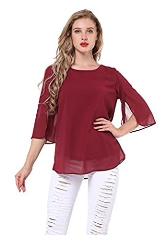 Yidarton Women's Bell Sleeve Chiffon T Shirt Scoop Neck Loose Casual Blouse Tops Red L
