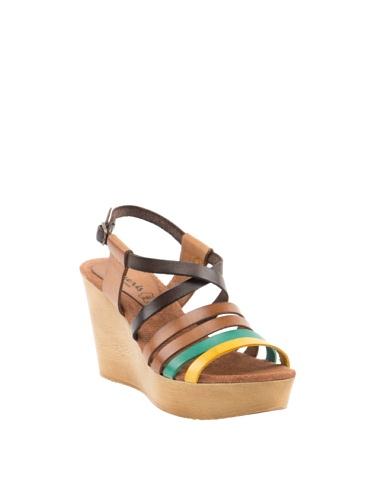 Daneris  Pala 4 Tiras Paralelas, Sandales à talons femme Multicolore - Amarillo / Verde / Moca