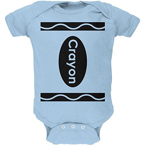 Kostüm Blau Crayon (Halloween Crayon Kostüm weiches Baby Einteiler Licht blau 0-3)