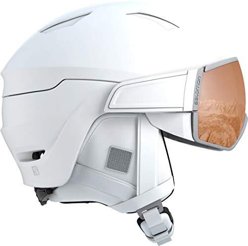 Salomon Mirage s Casco de esquí y Snowboard con Visor para Mujer, Solution OTG, Compatibles con Gafas de Vista, Interior de Espuma EPS 4D, Circunferencia: 56-59 cm, Blanco, Talla M