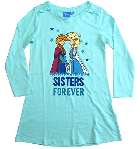 Frozen Nachthemd Mädchen Disney Anna und ELSA (Hellblau, 122-128)