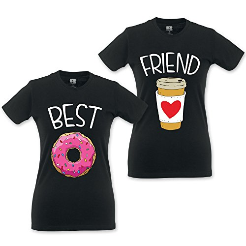 Coppia Di T Shirt Magliette love You And Me Best Friend Coffee and Donut Nere