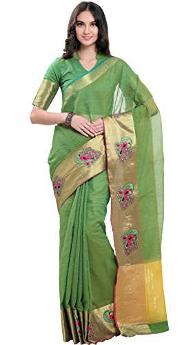 EthnicJunction Women's Kota Cotton And Silk Cotton Saree With Blouse (EJ1164-2029_Green)