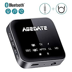Agedate Bluetooth Adapter Audio Bluetooth 5.0 Transmitter Empfänger 2 in 1 HiFi Sender Receivier Freisprechanrufe Low Latency mit 3.5mm AUX Kabel für TV PC Kopfhörer Flugzeug Lautsprecher Musikanlage