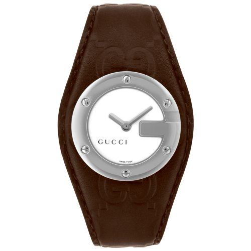 GUCCI Women's YA104539 104 Collection Bandeau Brown Leather Watch
