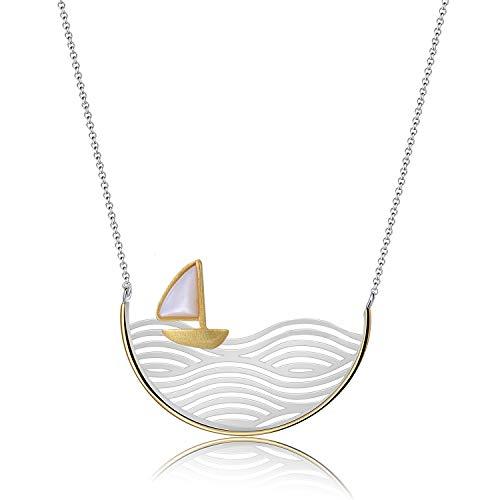 Lotus Fun S925 Sterling Silber Halskette Segelboot Halskette Kreativ Handgemachter Einzigartiger Schmuck für Frauen und Mädchen