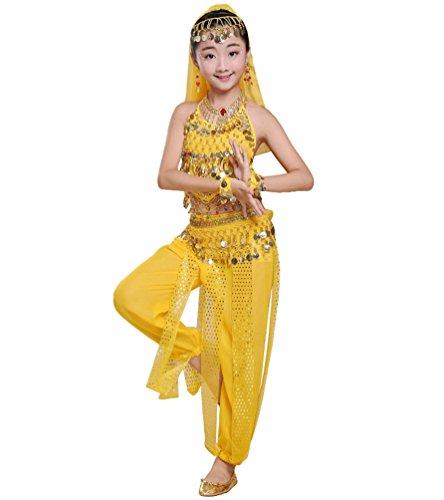 der Bauchtanz Kostüm Set Halloween Karneval Hosen Tanzkleidung Gelb#3 S (Top 3 Halloween Kostüme)