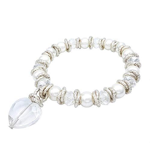 Particolarmoda bracciale elastico stretch donna in alluminio cristalli e perle majorca con cuore colore argentato
