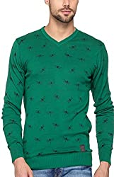 Spykar Mens Green Regular Fit Mid Rise Sweatshirts (Medium)