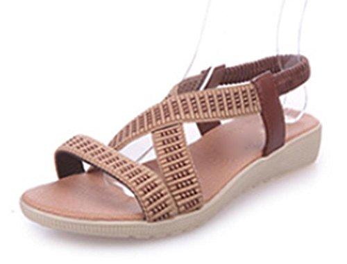 Rome sandales à bout ouvert sangle élastique light brown