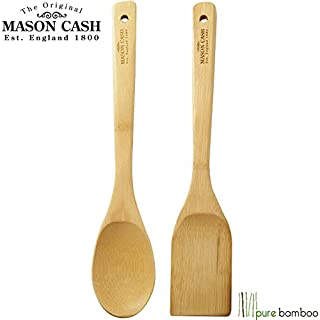 MASON CASH® 2pcs 2 Pieces Pure Bamboo Wooden Solid Turner/Spatula & Spoon Kitchen Essentials Cooking Utensils Tool Set