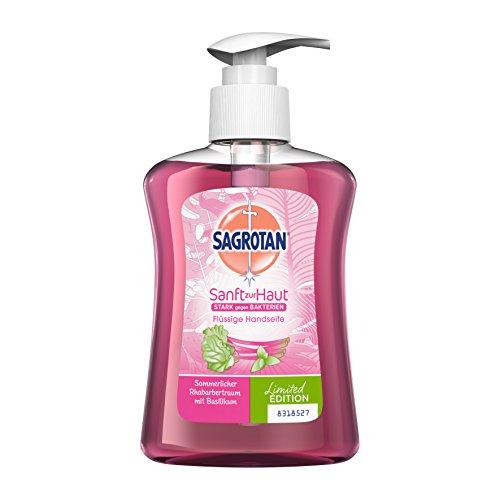 Sagrotan Handseife Sommerlicher Rhabarbertraum mit Basilikum, Limited Edition - Antibakterielle Flüssigseife - 3 x 250 ml