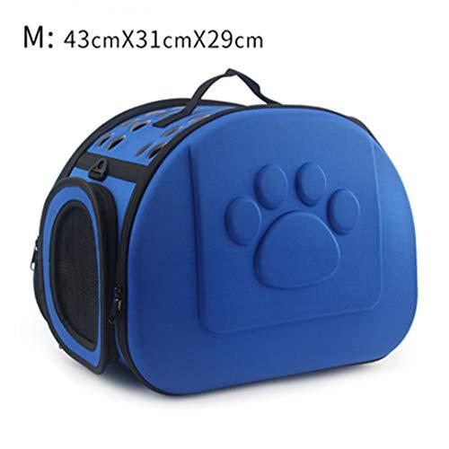 Bag-Haigeen Tragetasche für Haustiere Tragbare einfarbige Katze im Freien Faltbare Hundereise Haustier-Tasche Welpen-Tragetaschen Blue 43x31x29cm M (Sattel Tasche Geldbörsen)