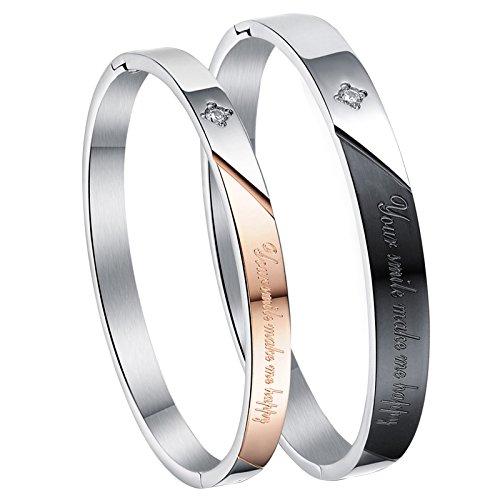 Cupimatch braccialetti rigidi in acciaio inox, set da 2 per coppia, coordinati per lui e lei, ideali come regalo romantico per san valentino