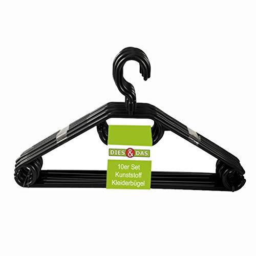 KLEIDERBÜGEL KleBü 20 Stück von 4smile.shop - Made in Germany | WÄSCHE-BÜGEL ANZUG-BÜGEL aus robustem Kunststoff | Farbe schwarz