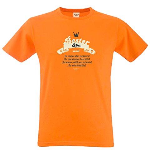 Bester Opa weil… Papa Großvater Geschenke Set Vatertag Sprüche Fun T-Shirt & Minishirt Farbe: orange Orange