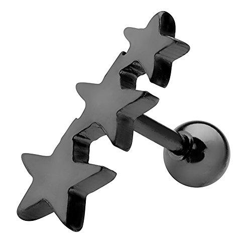 fake piercing ohr helix Piercingfaktor Piercing Ohr aus Chirurgenstahl Helix Tragus Ohrpiercing Stab Kugel Cartilage Knorpel Barbell Stecker 3 Stern Schwarz