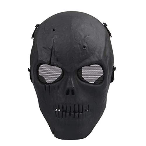 QXYAmj Vollmasken Skull Skeleton Mit Metallgitter Augenschutz Army Fans Supplies M06 Tactical Mask für Halloween