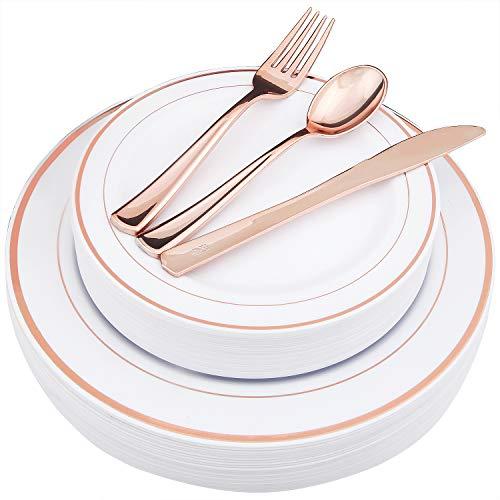 bergeschirr-Set aus Kunststoff und Einweg-Kunststoffteller, schwerer Kunststoff, inklusive 25 Speiseteller, 25 Salatteller, 25 Gabeln, 25 Messer, 25 Löffel 125piece rose gold ()