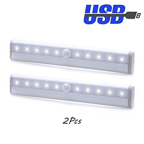 2 Pezzi di Luce Notturna con Sensore del Movimento 10 Luminosa LED Wireless Portatile Batteria Ricaricabile con Cavo di Ricarica USB Lampada Bianca per Armadio Scale Cucina Guardaroba Corridoio (luce sensore)