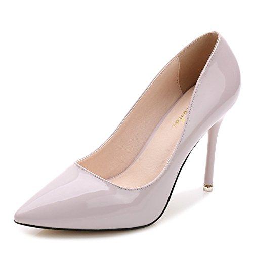 Damen Pumps Lackleder Spitz Zehen Geschlossen Einfach Klassisch Slip on Elegant OL Büro Freizeit Stiletto Hellviolett