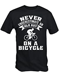 Never Underestimate An Old Guy On A Bicycle Funny Cycling T Shirt