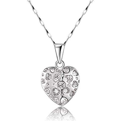 "City Ouna®Mesdames 925 Sterling Silver White Diamond coeur pendentif collier 18 ""- boîte de chaîne avec fermoir avec anneau"